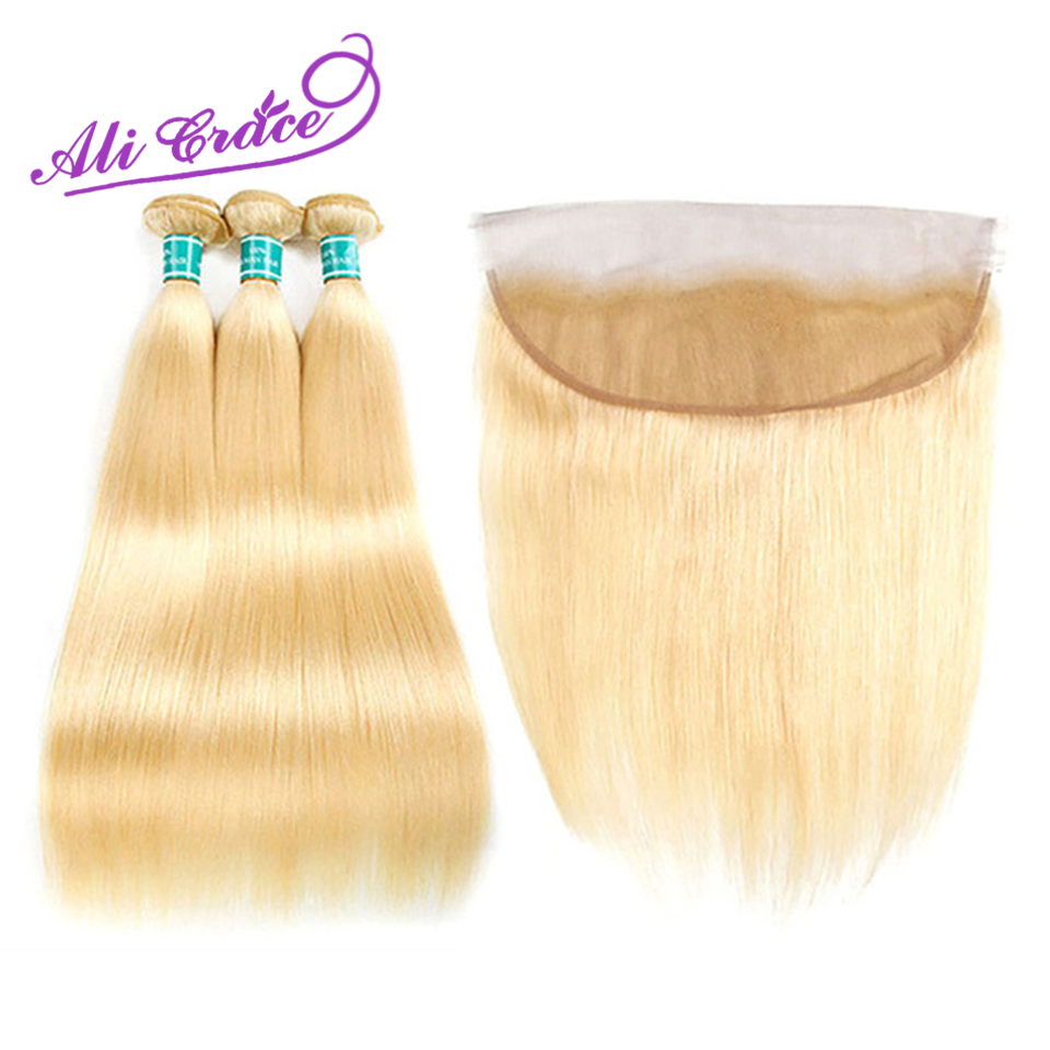 Ali Grace Hair Peruvian Blonde Bundles With Frontal 13 4 Ear to Ear Remy Blonde Straight