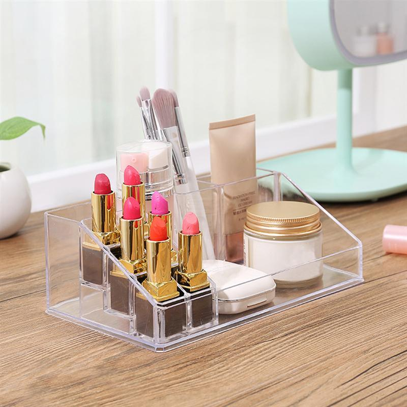 Creative Transparent Makeup Storage Box Cosmetic Organizer Acrylic Holder Desktop Display Stand For Lipsticks Nail Polishes
