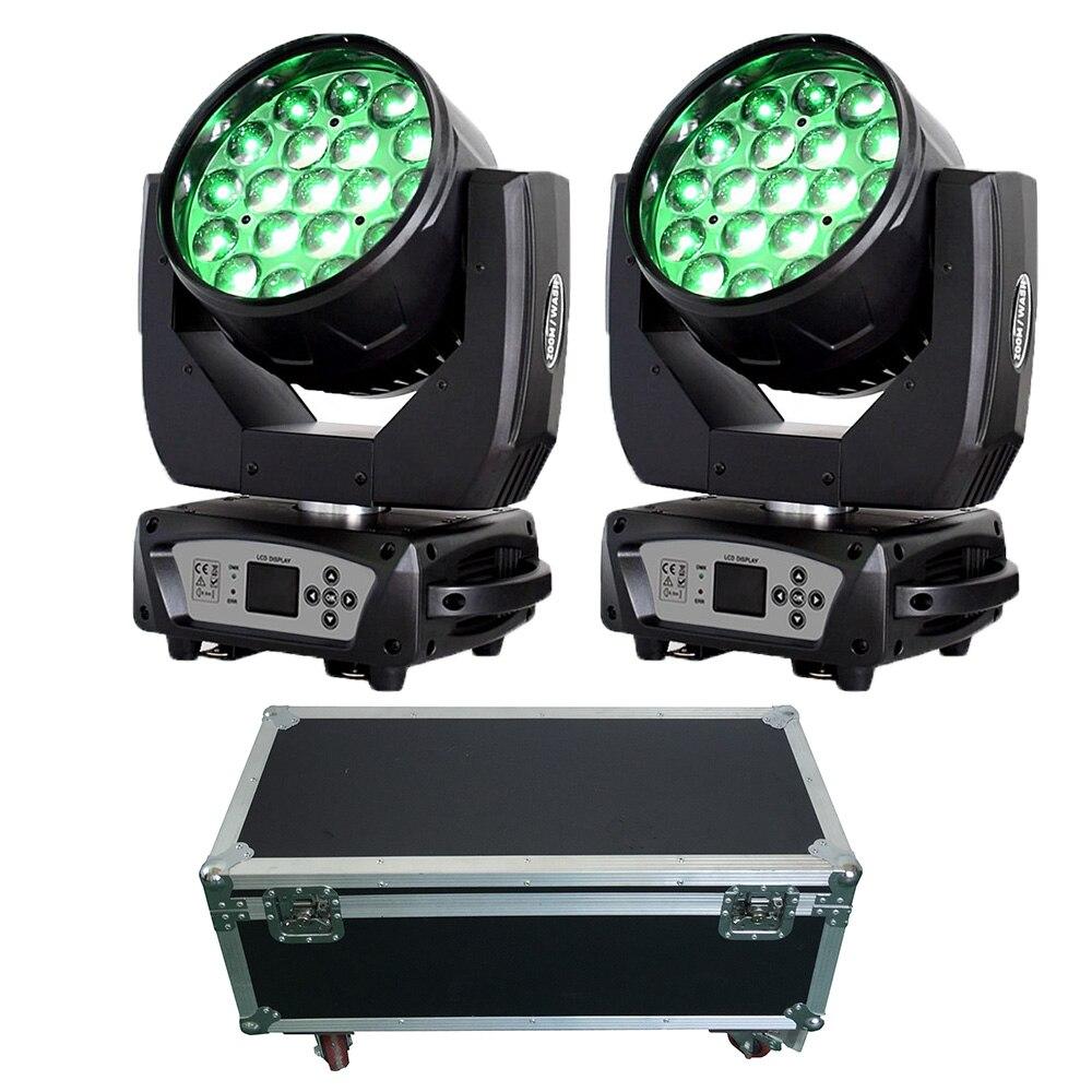 Profissional de luz de Discoteca dj 19X15W RGBW Luz Do Estágio de DMX Moving Head Beam com caso fly chegam