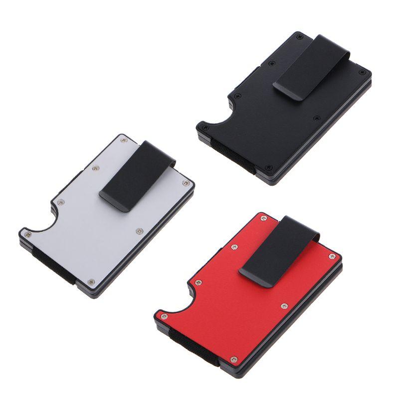 Portable Men Card Holder RFID Blocking ID Credit Card Wallet Aluminium Case Money Clip Card Organizer