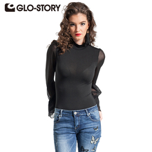 GLO-STORY Women Bodysuits Jumpsuit 2017 New Long Seleeve Elegant Shirts Summer Chic Solid Romper Femme Jumpsuits 4851