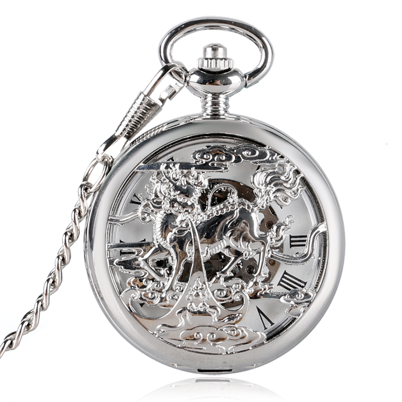 Hollow Silver Chinese God Beast Kirin Design Mechanical Pocket Hand-Winding Punk Pendant Clock Souvenir Antique Gift Unisex