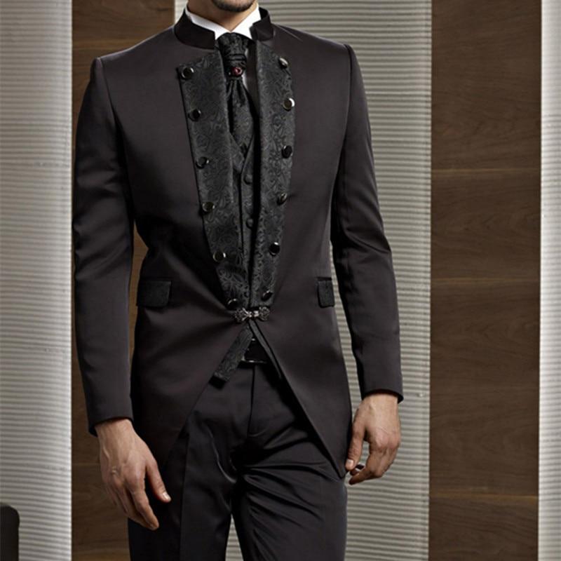 Anzüge 2017 Bräutigam Smoking Schokolade Zweireiher Hochzeit Abendessen Bräutigam Männer Anzüge Best Man Bräutigam Männer Anzug jacke + Pants + Tie + Vest Herrenbekleidung & Zubehör