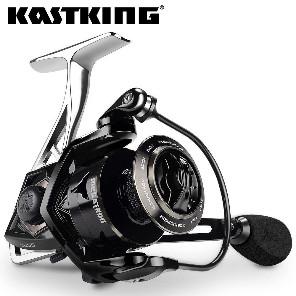 KastKing Megatron 21KG Max Drag Carbon Drag Spinning Fishing Reel With Large Spool Aluminum Body Saltwater Spinning Fishing Reel
