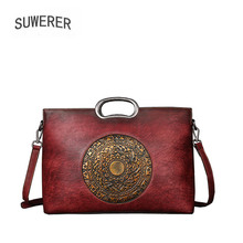 SUWERER 2018 New Women Genuine Leather bags luxury leather shoulder bag top Cowhide Retro embossing women famous brands bag suwerer 2018 new genuine leather women bags luxury handmade embossing cowhide big tote women bags designer women famous brands
