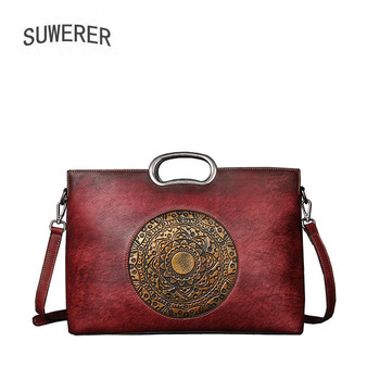 SUWERER 2018 New Women Genuine Leather bags luxury leather shoulder bag top Cowhide Retro embossing women famous brands bag