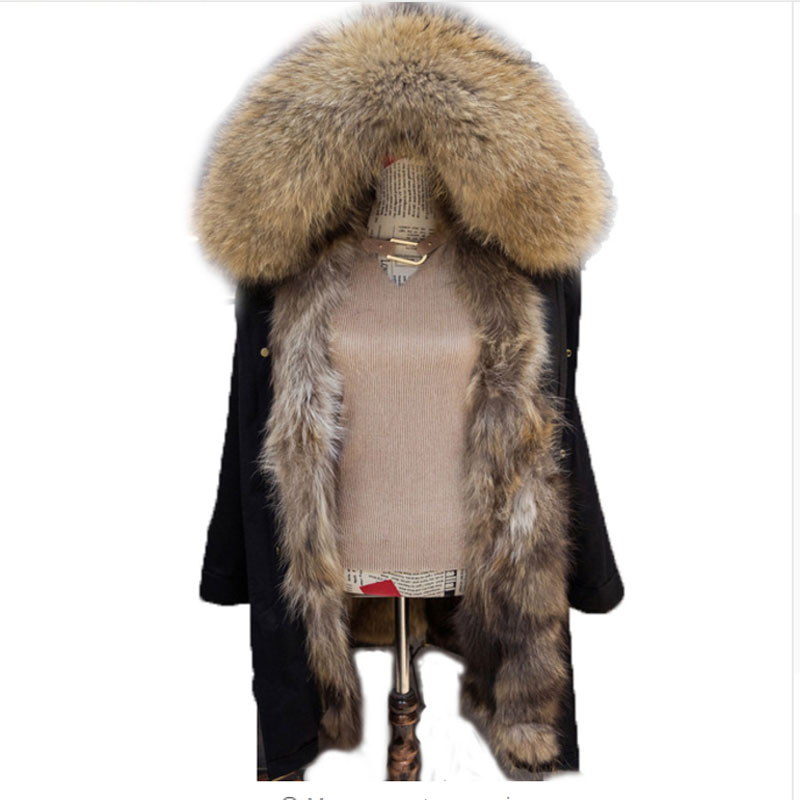 Korean 2017 Long Winter Jacket Women Outwear Thick Parkas Raccoon Natural Real Fur Collar Coat Hooded Real Warm Fox Fur Lining plus size 2017 women outwear long camouflage winter jacket thick parkas raccoon natural real fur collar coat hooded pelliccia