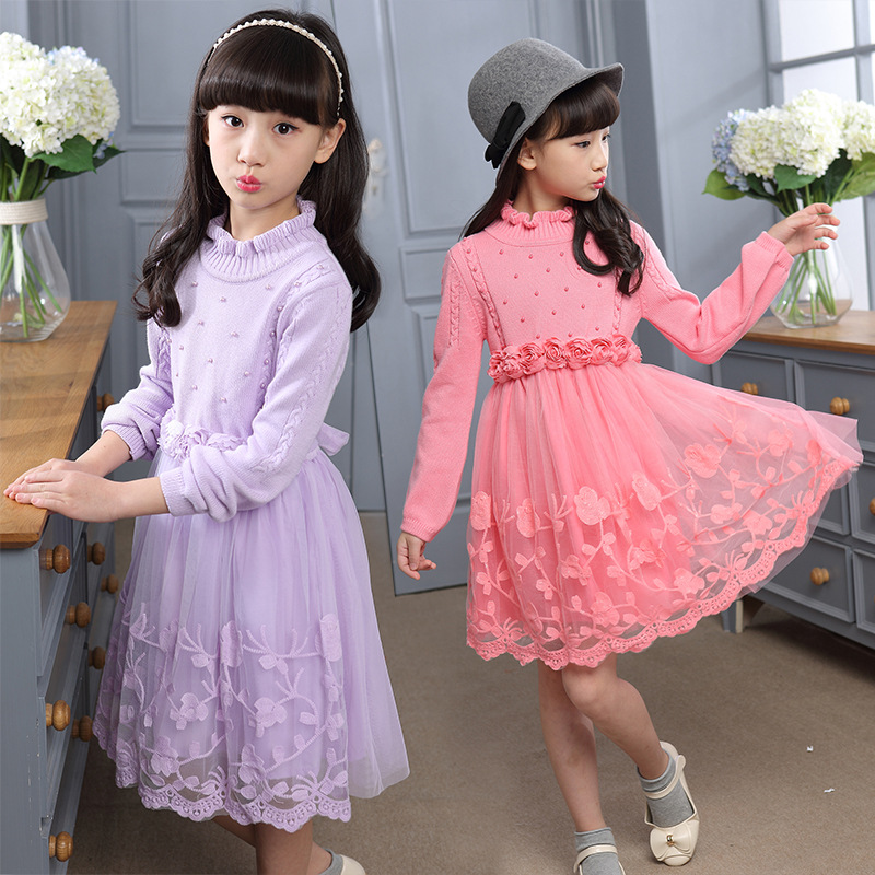 The new children's wear wool long-sleeved sweater dress lace flower of the girls edition in the fall of new women s wear long sleeved sweater knit render unlined upper garment female hedge brief paragraph