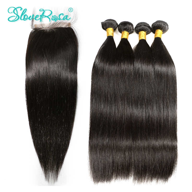3 4 Peruvian Bundles Weave Human Hair Bundles With Closure Straight Remy Hair Lace Closure 4*4 Pre Bleacked Slove Rosa Product