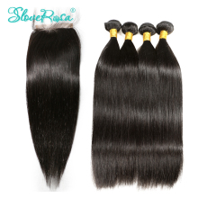 3 4 Peruvian Bundles Weave Human Hair Bundles With Closure Straight Remy Hair Lace Closure 4*4 Pre Bleacked Slove Rosa Product(China)