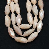 Approx 10pcs Strand Long Rice Beads Pink Moonlight Stones Pendants Faceted Moonstones Loose Beads Cut Spacers