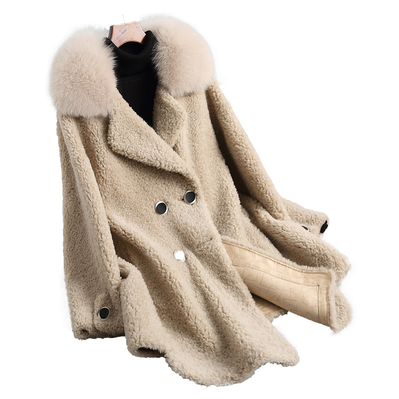 Col De Automne Camel Fourrure Naturel Veste Z477 Nouveau Renard Outwear Laine Réel Épaisse Beige Manteau Vestes D'agneau Manteaux Hiver Femmes Mode OSSAWR1