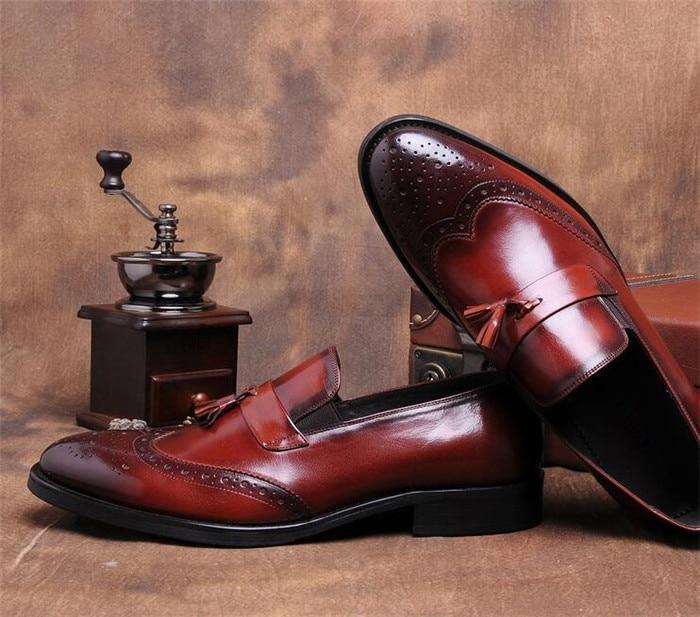 Punta Vestir Sólido Zapatos Derby Slip as Negro Shoescraved Itilian Pic Hombres on De Estrecha Borla Cuero Brogue Retro vwS7Ap