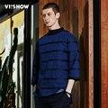 Viishow homens camisola hoodies hip hop homens streetwear capuz denim mens suéter listrado camisolas wd1216171