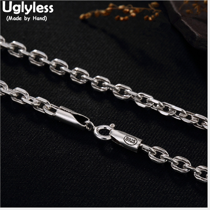 Uglyless S 925 Sterling Silver Necklace without Pendant 3.5MM Link Chains Bijoux Men Women Unisex Handmade Fine Jewelry Collier