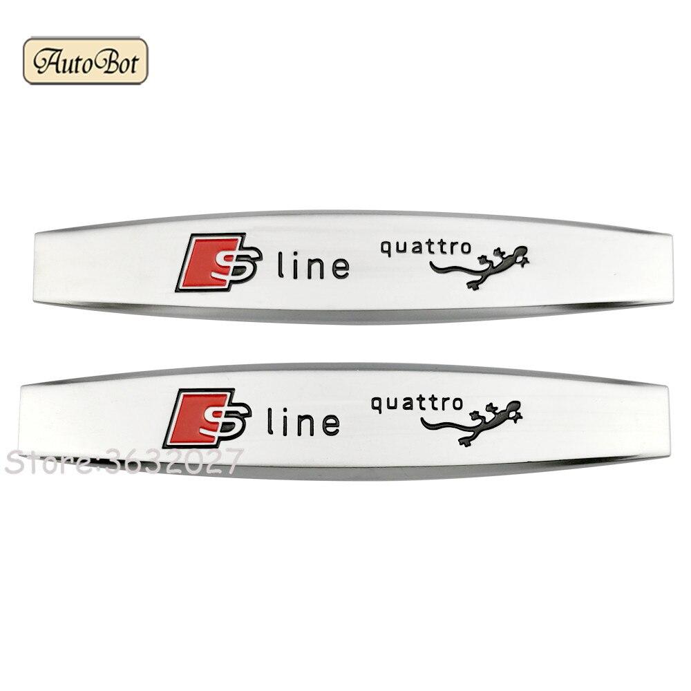 2pcs Metal Car Fender Side Sticker Emblem Badge Decal For Audi Sline For A4 B6 A6 C5 A4 B8 RS3 RS4 RS5 RS6 RS7 A4 B5 A6 C6 A4 B7