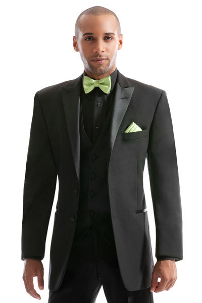 New Style Groom Tuxedo Groomsmen Peak Satin Lapel Wedding/Dinner/Evening Suits Best Man Bridegroom (Jacket+Pants+Tie+Vest) B61