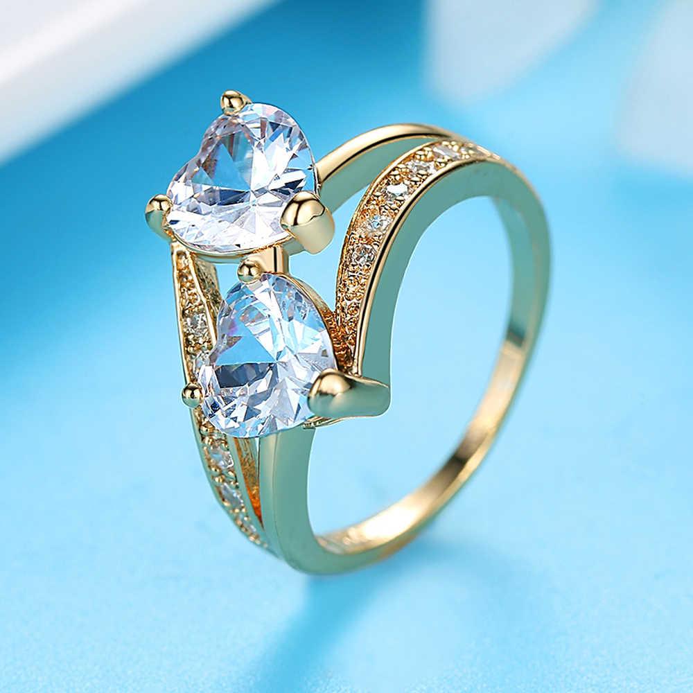 Coração duplo arco-íris cz anel em ródio banhado anéis de casamento para acessórios femininos jóias de noivado três cores d3