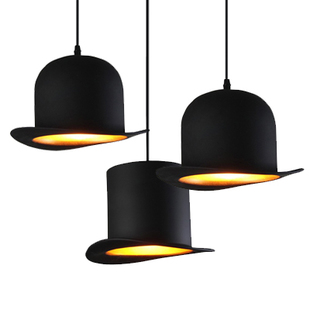 Modern brief personality hat pendant light fixture home deco Jeeves & Wooster Top Hat aluminum pendant lamp E27 golden silver