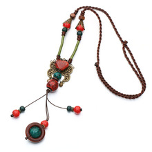 2017 New Bohemia Style Jewelry Antique Gold And Red Color Ceramics Beads Ethnic Long Necklace For Women Statement Jewelry