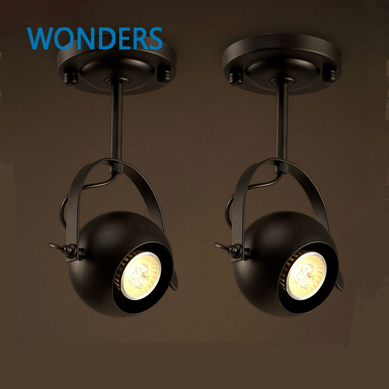 Retro Loft Vintage LED Track Light spherosome Industrial <font><b>Ceiling</b></font> Bar Clothing Personality spotlight Absorb Dome Light luminaire