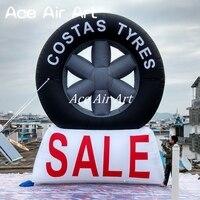 Горячая продажа Пользовательский логотип гигантская рекламная надувные шины воздушный шар в 15 футов высокий с вентилятором для продажи