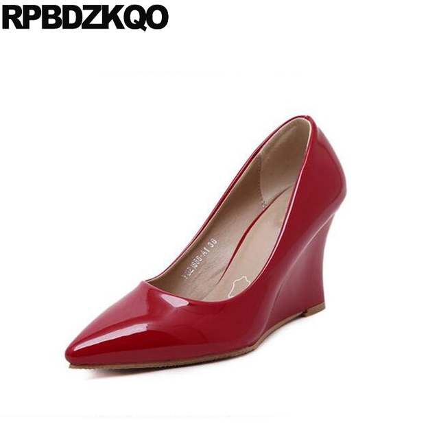 Work Medium Evening Pointed Toe Red Office Shoes Women High Heels Patent Leather 3 Inch Size