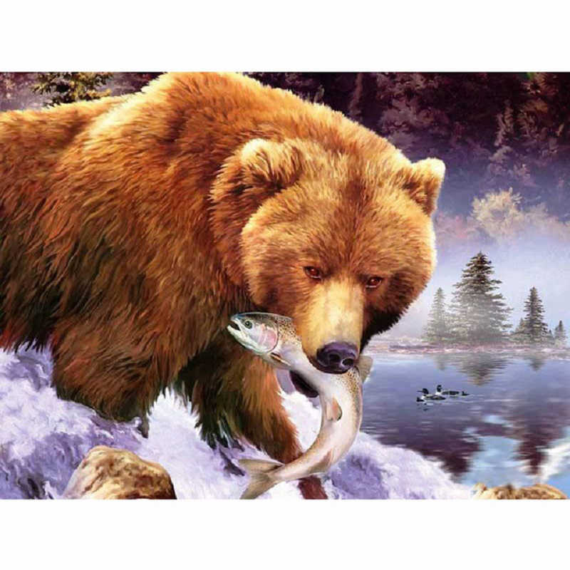 Diamond Embroidery Home Decor NEW 2021 Cross Stitch Grizzly Bear 5D DIY Full Drill Square Round Diamond Painting Kit