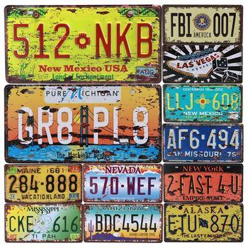 Американский Аризона Лас-Вегаса Орегон Автомобильный металлический декоративный номерной знак винтажный домашний декор жестяная вывеска Бар Паб гаражный настенный плакат доска C19