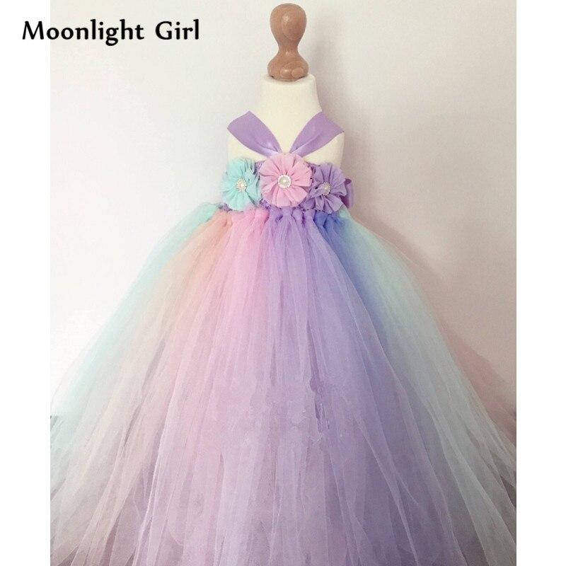 7dde201f67901 Flowers Rainbow Girls Wedding Dresses Long Tulle Tutu Princess Dress Up  Kids Halloween Rainbow Pony Birthday