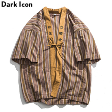 Dark Icon Striped Kimono Shirt Men 2019 Summer Open Stitch Oversized Shirts Japanese Style Mens