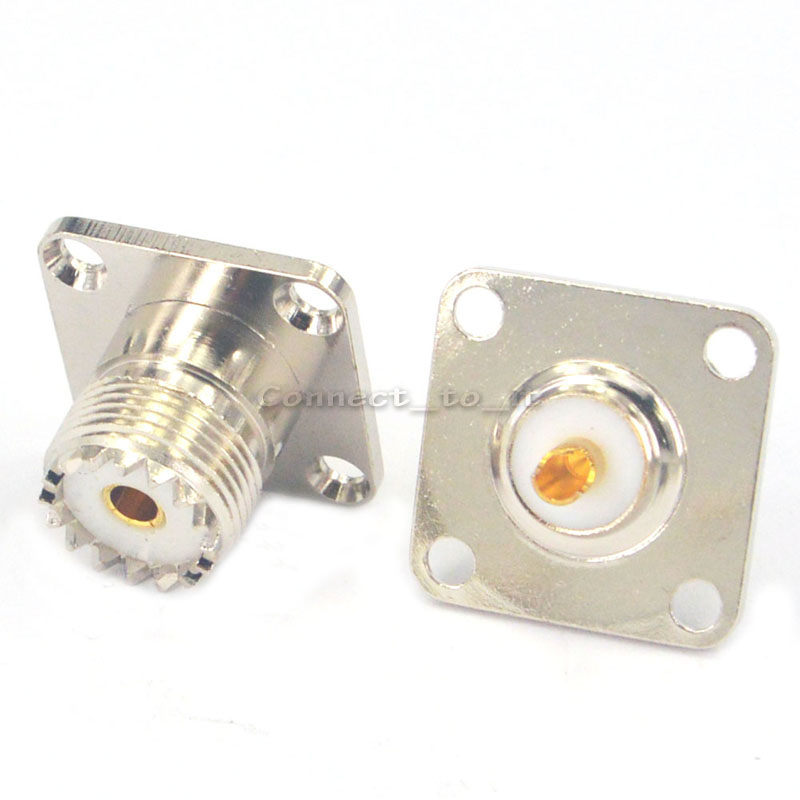 2 Pieces UHF PL259 4 Hole Panel Mount Jack Female With Solder Cup RF Connector