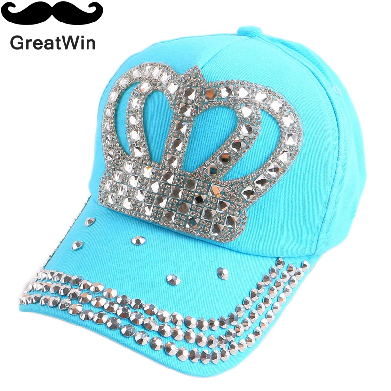 new fashion boy girl children luxury crown baseball cap custom rhinestone denim outdoor kid hip hop snapback baby cute casquette