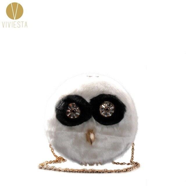71aeaa2bb4e0 FLUFFY OWL CROSSBODY CHAIN BAG - Women s Winter Halloween Fur Furry Fashion  Elegant Cute Novelty Small