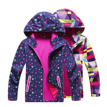 สาว Soft SHELL เสื้อแจ็คเก็ตการพิมพ์ฤดูใบไม้ร่วงฤดูใบไม้ผลิเดินป่า Windbreakers กันน้ำ Windproof เสื้อแจ็คเก็ตเด็กกีฬา Outwear