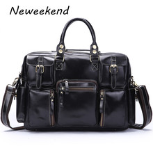 NEWEEKEND Genuine Leather Cowhide Bright Multi-Pocket 15 Inch Shoulder Handbag Crossbody Briefcase Laptop Bag for Man 3061