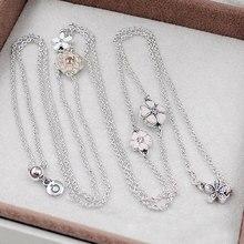 Auténtica Plata de Ley 925 Collar de Esmalte Flor Poética Con Collar de Cristal Para Las Mujeres Compatible Con Pandora HKA4324