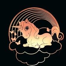 3D Led unicornio forma noche luz creativa Usb 7 colores cambiar dibujos animados escritorio lámpara dormitorio dormir iluminación decoración niños cumpleaños regalos