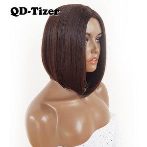 Image 3 - QD Tizer Korte Bob Haar Geen Kant Pruiken Zijdeachtige Top Hittebestendige Synthetische Lijmloze Pruiken voor Zwarte Vrouwen