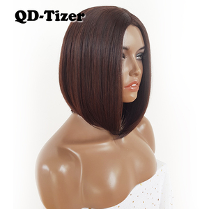 Image 3 - QD Tizer قصيرة بوب الشعر لا الدانتيل الباروكات حريري أعلى مقاومة للحرارة الاصطناعية غلويليس الباروكات للنساء السود