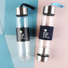 Best 450ML Airtight Borosilicate Glass Drinking Water Bottles With Stainless Steel Tea Infuser Filter Sports Travel Bottles