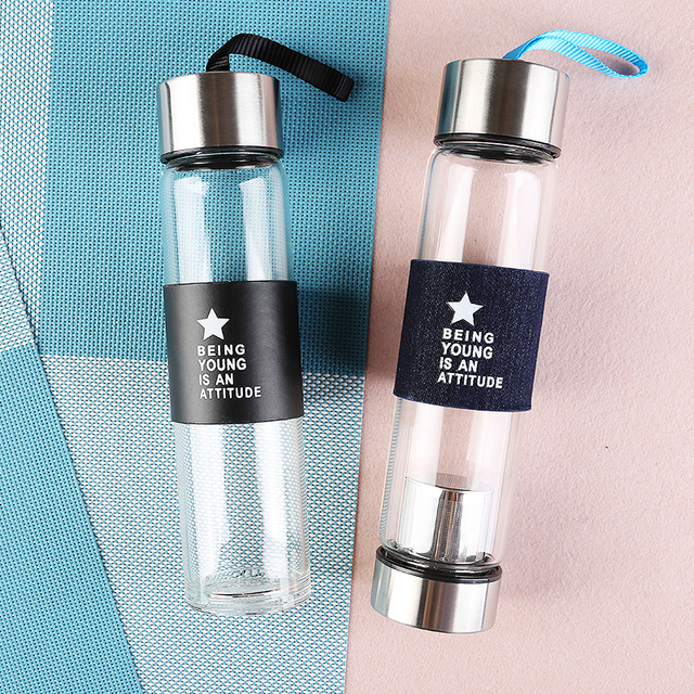 Best 450ML Airtight Borosilicate Glass Drinking Water Bottles With