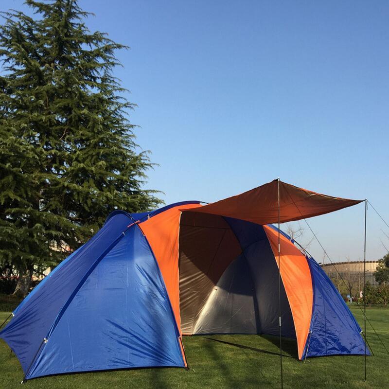 Большая туристическая палатка для 4 человек, двухслойная уличная большая палатка с двумя спальнями для 4 человек, большие палатки для кемпин