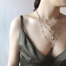 ФОТО vintage 3 layers sequins chain cross crucifix pendant multilayer choker necklace female statement jewelry christmas gift