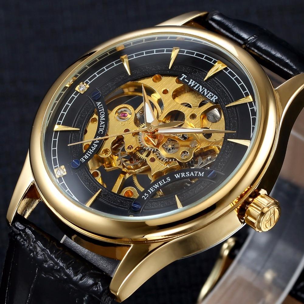 Winner Brand Luxury Royal Diamond Design Black Gold Watch Montre Homme Mens Watches Relogio Male Skeleton Mechanical Watch карабин black diamond black diamond rocklock twistlock
