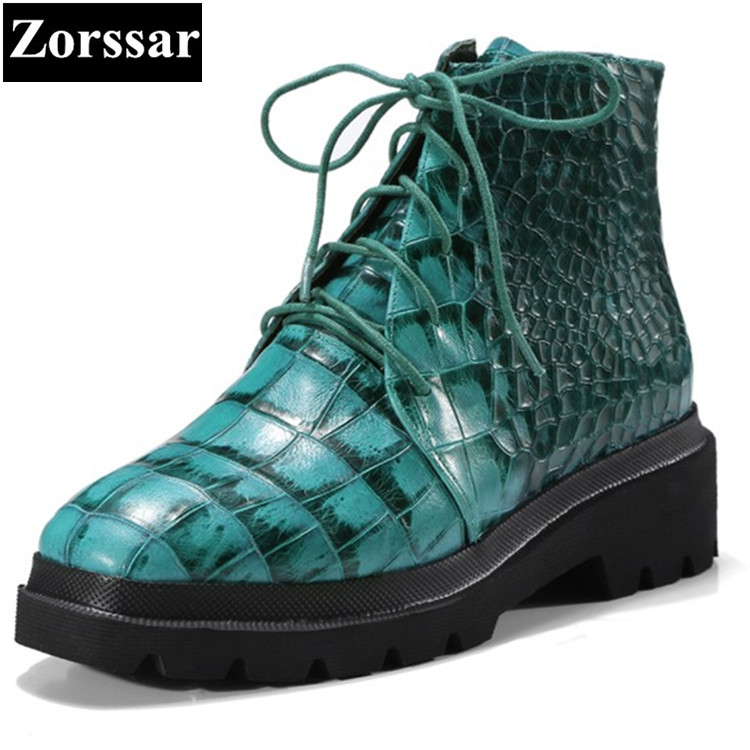 {Zorssar}2018 NEW Genuine Leather Fashion Women Short Boots lace-up flats heel ankle Motorcycle boots Autumn winter female shoes front lace up casual ankle boots autumn vintage brown new booties flat genuine leather suede shoes round toe fall female fashion