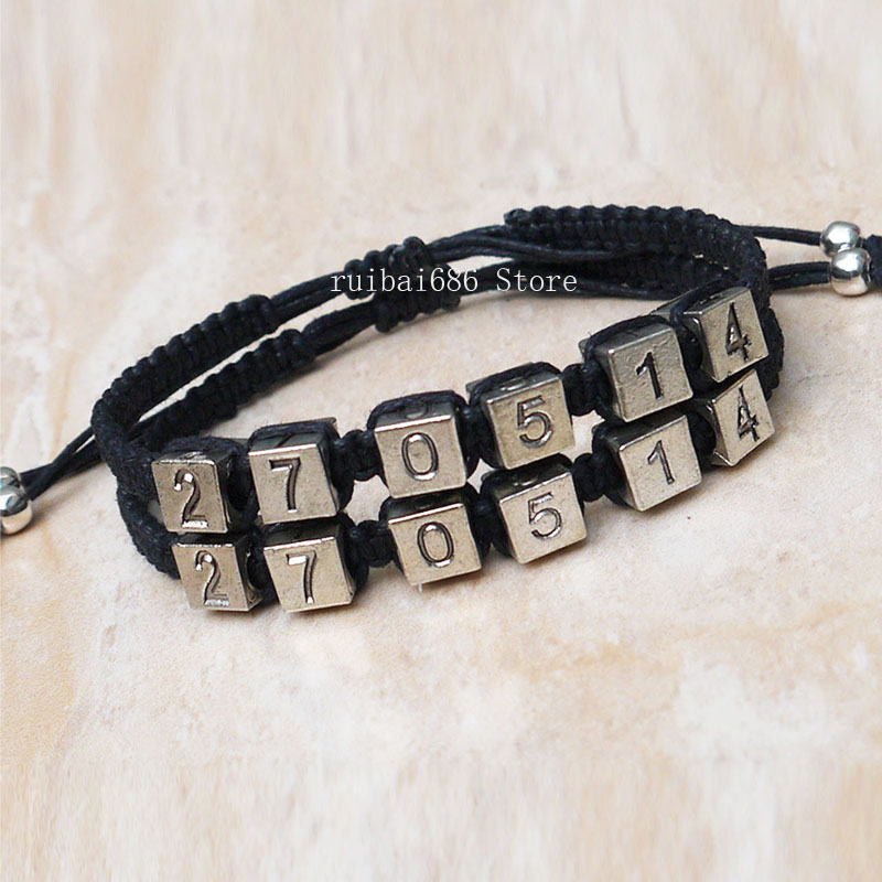 Couples Bracelets Set, Save the Date Couples Bracelets, Anniversary Gift, Personalized Birthday gift for boyfriend on anniversary