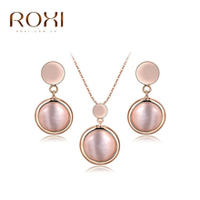 ROXI Jewelry Sets Pendant Necklace Drop Earrings Rose Gold Austrian Opal Crystals Jewelry Set ensemble bijoux femme Fashion