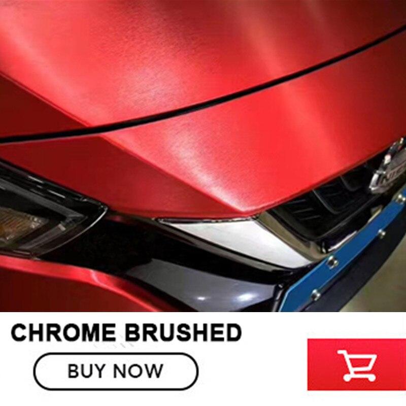 Rouge Mat Chrome Brossé rouge Vinyle Wrap Film Gratuit Bubble pour la voiture Emballage chrome Brossé Autocollant De Voiture