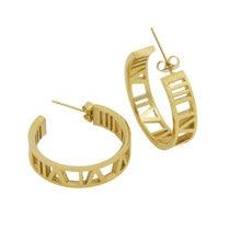 Fashion Jewelry Roman Numerals Stud Earrings Stainless Steel Gold Colour Lover Earrings For Women Piercing Jewelry